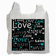 Valentine s day pattern - cyan Recycle Bag (Two Side)