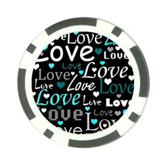 Valentine s day pattern - cyan Poker Chip Card Guards (10 pack)