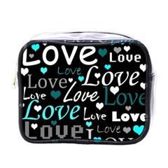 Valentine s day pattern - cyan Mini Toiletries Bags