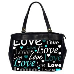 Valentine s day pattern - cyan Office Handbags (2 Sides)