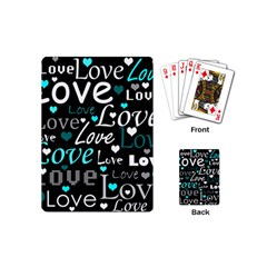 Valentine s day pattern - cyan Playing Cards (Mini)