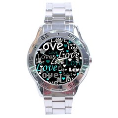 Valentine s day pattern - cyan Stainless Steel Analogue Watch