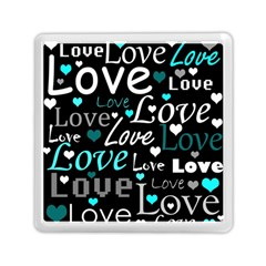 Valentine s day pattern - cyan Memory Card Reader (Square)