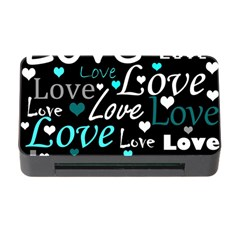 Valentine s day pattern - cyan Memory Card Reader with CF
