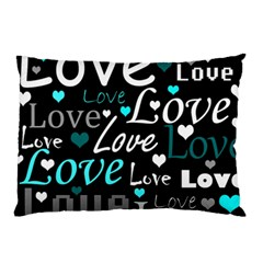Valentine s day pattern - cyan Pillow Case (Two Sides)