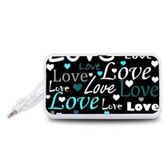 Valentine s day pattern - cyan Portable Speaker (White)