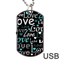 Valentine s day pattern - cyan Dog Tag USB Flash (One Side)