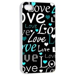 Valentine s day pattern - cyan Apple iPhone 4/4s Seamless Case (White)