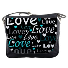 Valentine s day pattern - cyan Messenger Bags