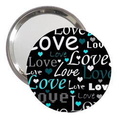 Valentine s day pattern - cyan 3  Handbag Mirrors