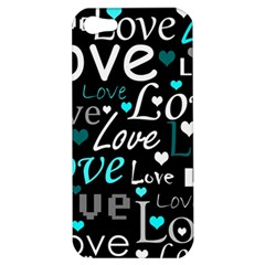 Valentine s day pattern - cyan Apple iPhone 5 Hardshell Case