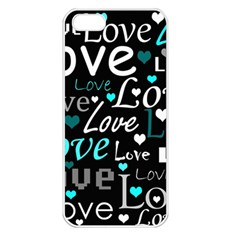 Valentine s day pattern - cyan Apple iPhone 5 Seamless Case (White)