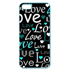 Valentine s day pattern - cyan Apple Seamless iPhone 5 Case (Color)