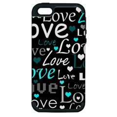 Valentine s day pattern - cyan Apple iPhone 5 Hardshell Case (PC+Silicone)