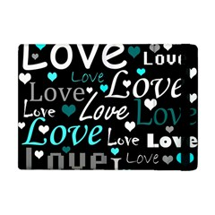 Valentine s day pattern - cyan Apple iPad Mini Flip Case