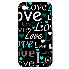 Valentine s day pattern - cyan Apple iPhone 4/4S Hardshell Case (PC+Silicone)