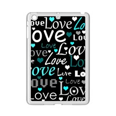 Valentine s day pattern - cyan iPad Mini 2 Enamel Coated Cases