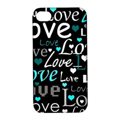 Valentine s day pattern - cyan Apple iPhone 4/4S Hardshell Case with Stand