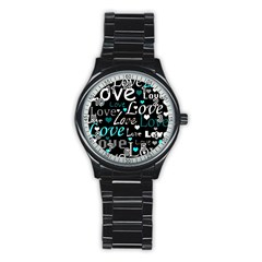 Valentine s day pattern - cyan Stainless Steel Round Watch