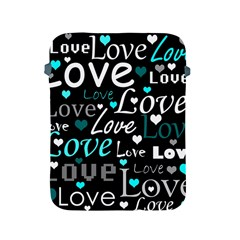 Valentine s day pattern - cyan Apple iPad 2/3/4 Protective Soft Cases