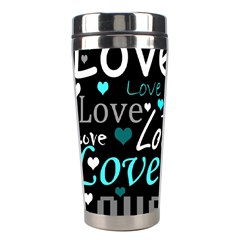Valentine s day pattern - cyan Stainless Steel Travel Tumblers