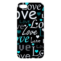 Valentine s day pattern - cyan iPhone 5S/ SE Premium Hardshell Case