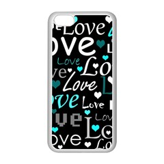 Valentine s day pattern - cyan Apple iPhone 5C Seamless Case (White)