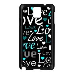 Valentine s day pattern - cyan Samsung Galaxy Note 3 N9005 Case (Black)