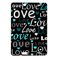 Valentine s day pattern - cyan Amazon Kindle Fire HD (2013) Hardshell Case