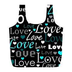 Valentine s day pattern - cyan Full Print Recycle Bags (L)