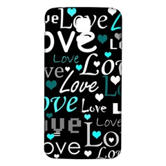 Valentine s day pattern - cyan Samsung Galaxy S5 Back Case (White)