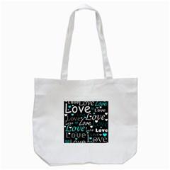 Valentine s day pattern - cyan Tote Bag (White)