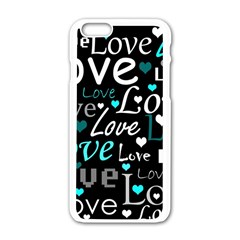 Valentine s day pattern - cyan Apple iPhone 6/6S White Enamel Case