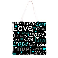Valentine s day pattern - cyan Grocery Light Tote Bag
