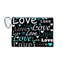 Valentine s day pattern - cyan Canvas Cosmetic Bag (M)