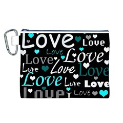 Valentine s day pattern - cyan Canvas Cosmetic Bag (L)