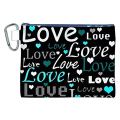 Valentine s day pattern - cyan Canvas Cosmetic Bag (XXL)