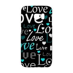 Valentine s day pattern - cyan Galaxy S6 Edge