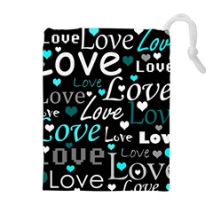 Valentine s day pattern - cyan Drawstring Pouches (Extra Large)
