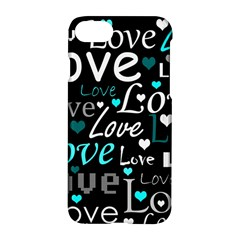 Valentine s day pattern - cyan Apple iPhone 7 Hardshell Case
