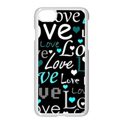 Valentine s day pattern - cyan Apple iPhone 7 Seamless Case (White)