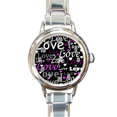 Valentine s day pattern - purple Round Italian Charm Watch