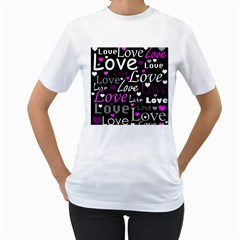 Valentine s day pattern - purple Women s T-Shirt (White) (Two Sided)