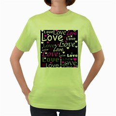 Valentine s day pattern - purple Women s Green T-Shirt