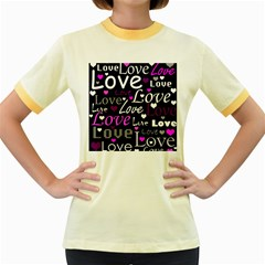 Valentine s day pattern - purple Women s Fitted Ringer T-Shirts