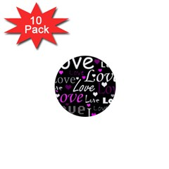 Valentine s day pattern - purple 1  Mini Magnet (10 pack)
