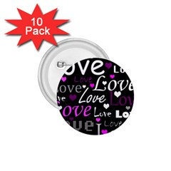 Valentine s day pattern - purple 1.75  Buttons (10 pack)