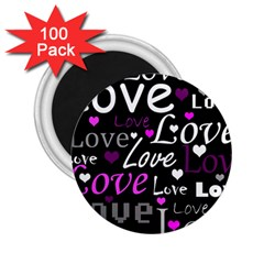 Valentine s day pattern - purple 2.25  Magnets (100 pack)