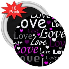Valentine s day pattern - purple 3  Magnets (10 pack)