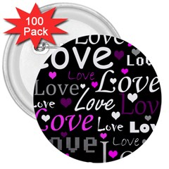 Valentine s day pattern - purple 3  Buttons (100 pack)